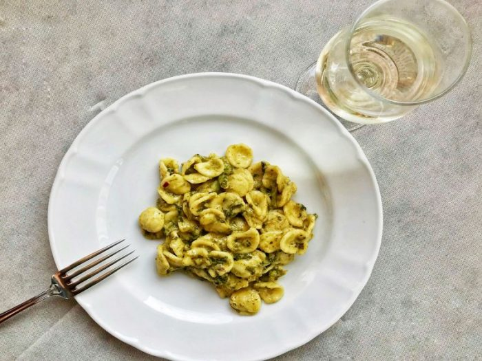 Enjoy orechiette rape e acciughe while dining at La Grottella Trattoria near Melissano-Racale
