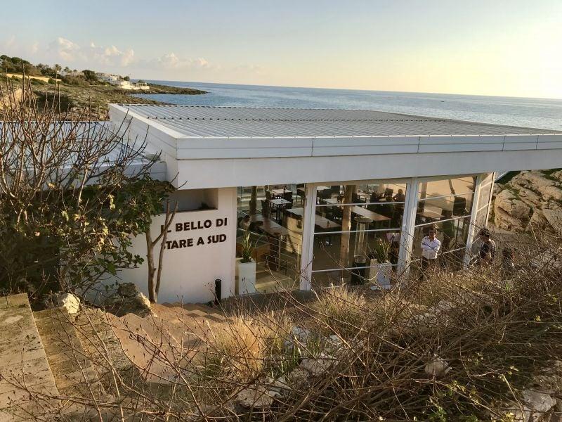 Seaside views at Solatio restaurant Terre Suda near Racale, Salento.