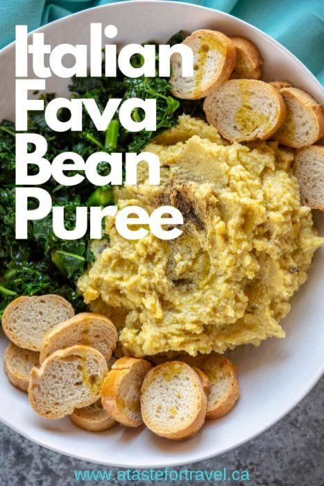 This easy and delicious Purè di fave e Cicorie – Fava Bean Puree with Chicory — is a traditional antipasti dish from Puglia, Italy. Made with dried fava beans, this healthy soul-satisfying vegan dish captures the best of the Mediterranean diet in both simplicity and flavour. If you can't find chicory, use dandelion greens or rapini.