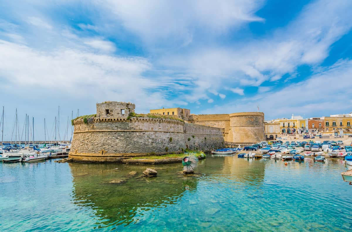 Panoramic view of Gallipoli town and harbour, Puglia Region, South Italy