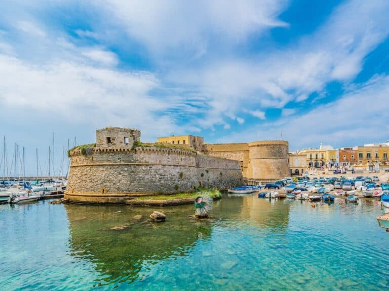 View of the harbour in Gallipoli, Salento.