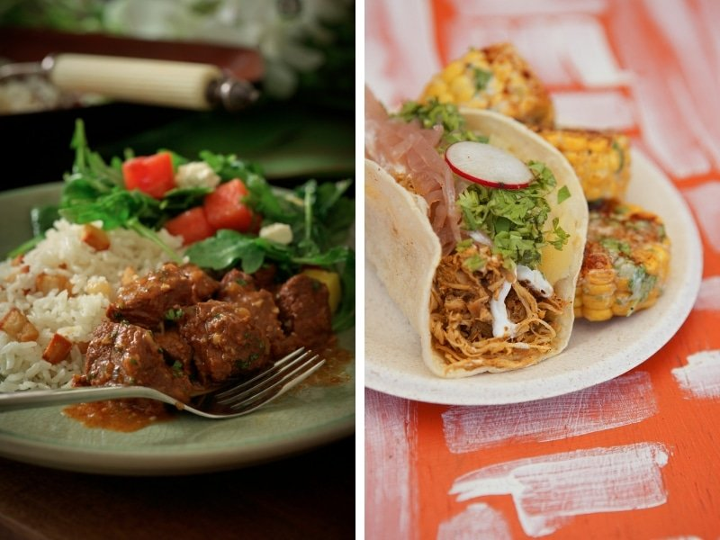 Collage of authentic Puerto Rican cuisine.