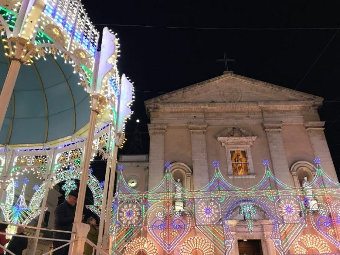 Illuminated church of San martino in Taviano Salento Puglia