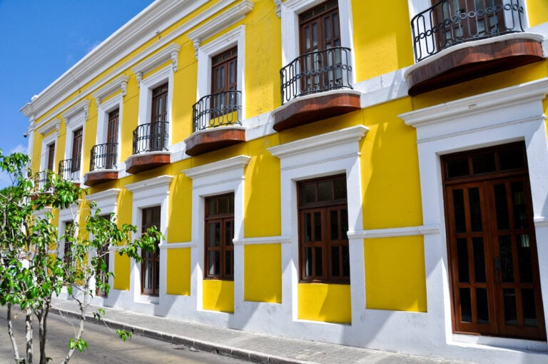 A yellow colonial building in Old San Juan, Puerto Rico.