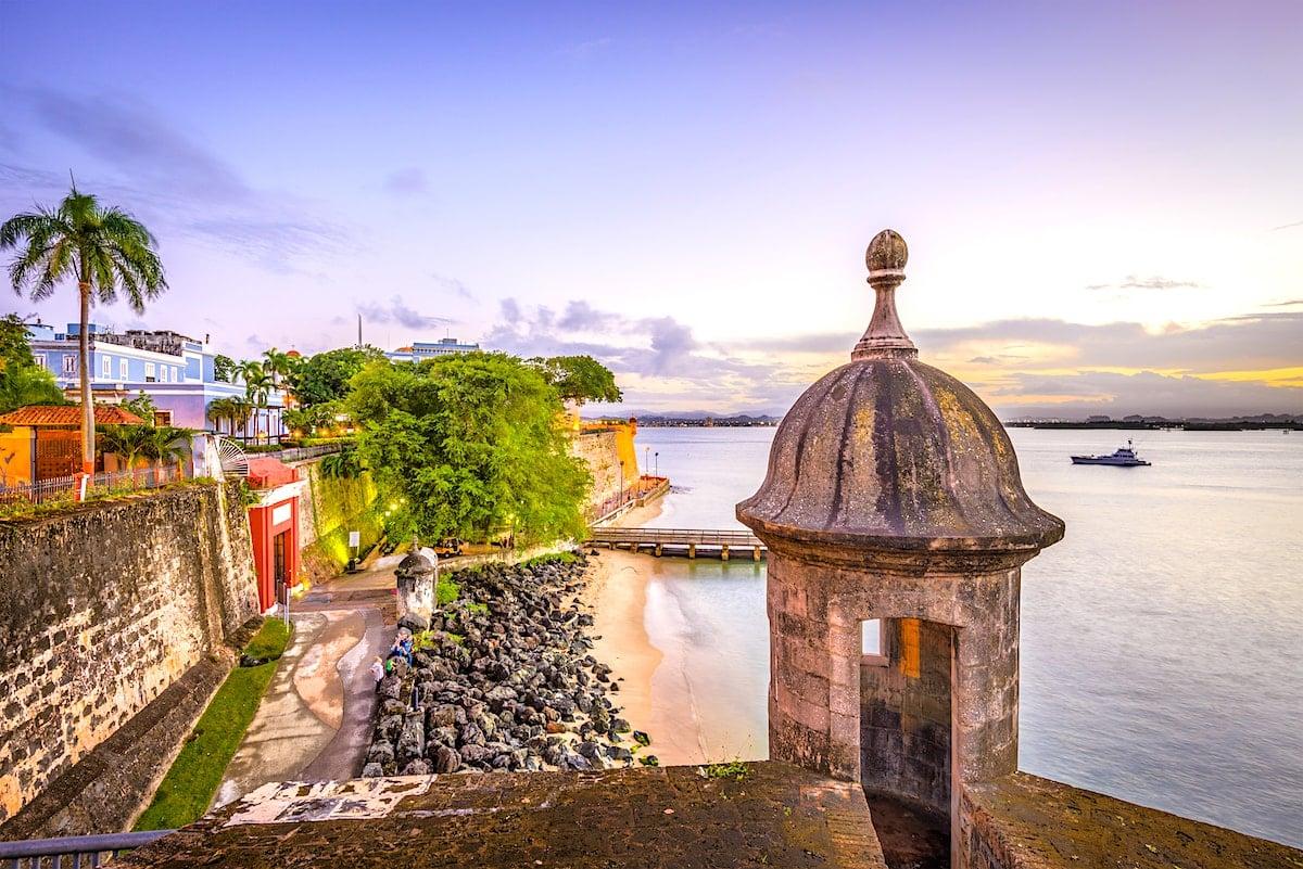 Sunset along the Paseo de la Princesa in Old San Juan, Puerto Rico.