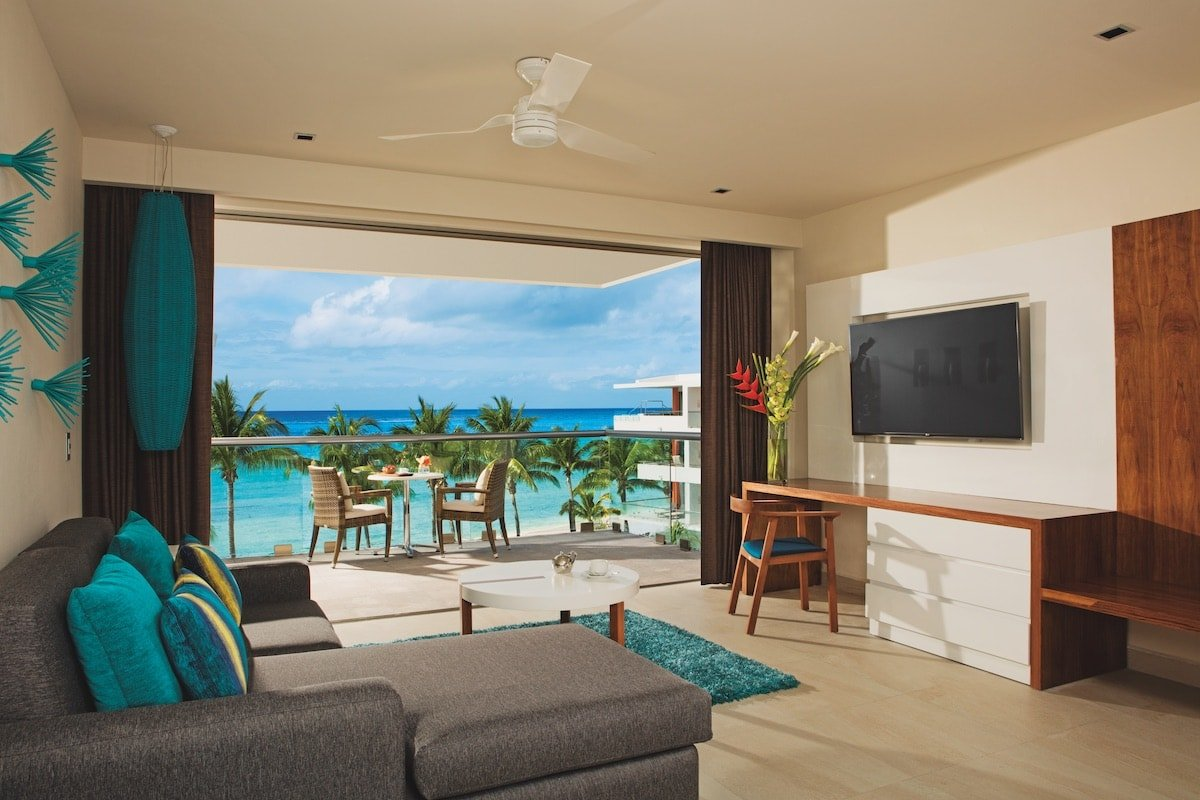 View of the ocean in a Preferred Junior Suite at Secrets Aura Cozumel.