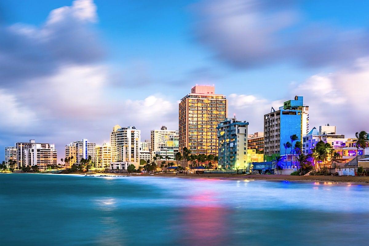Evening view of San Juan, Puerto Rico skyline on Condado Beach.