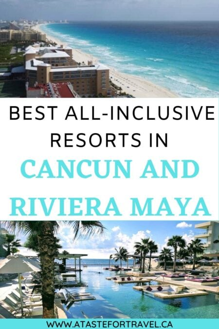 beach in Cancun and swimming pool with text overlay of best all-inclusive resorts in Cancun Mexico.