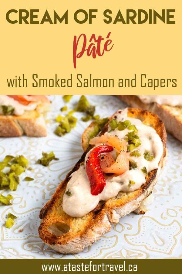 This easy recipe for Cream of sardines with smoked salmon and capers makes a delicious appetizer for parties and snacks. #recipe #sardines