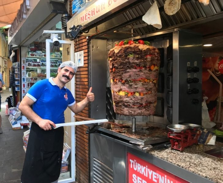 Enthusiastic street food vendor in Bodrum, Turkey
