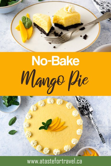 Celebrate spring with this luscious No-Bake Mango Pie that's like a mousse but very easy to make and perfect for sharing with family and friends. #dessert #mango #Easter