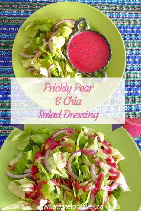 This healthy Prickly Pear and Chia Salad Dressing is beautiful and packed with antioxidants, fibre and vitamin C. #recipe #healthy #valentinesday