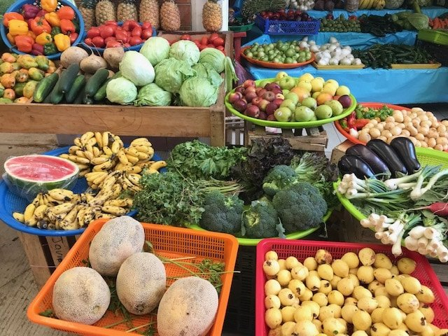 Fresh fruit and veggies at Zicatela Market in Puerto Escondido