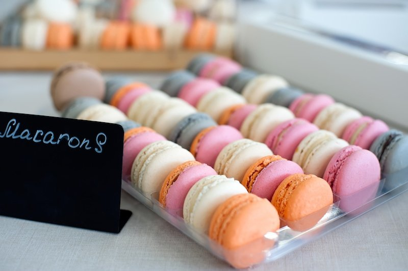 Macarons in a shop window