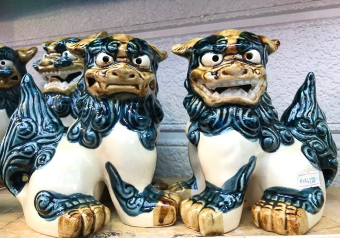 A pair of shisa, traditional Ryukyuan figures believed to ward off evil spirits