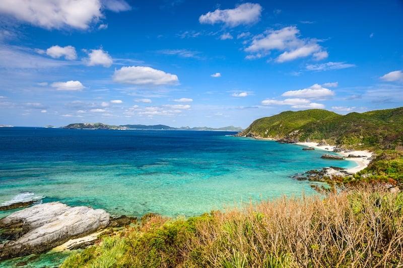 Island coastline in Okinawa Japan