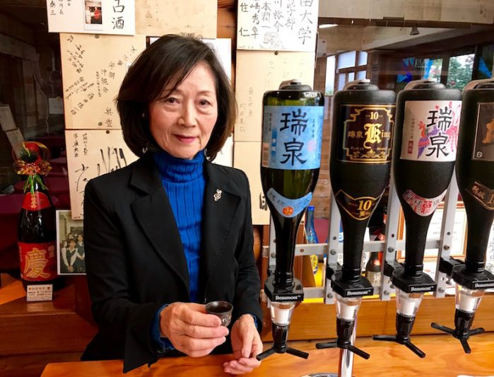 Saeko Sakumoto, Executive Chairperson of the Zuisen Distillery Co. offers a tutored tasting of Awamori at Zuisen Distillery in Naha, Okinawa