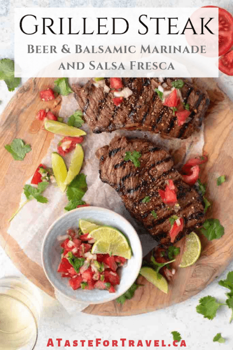 Grilled steak with salsa