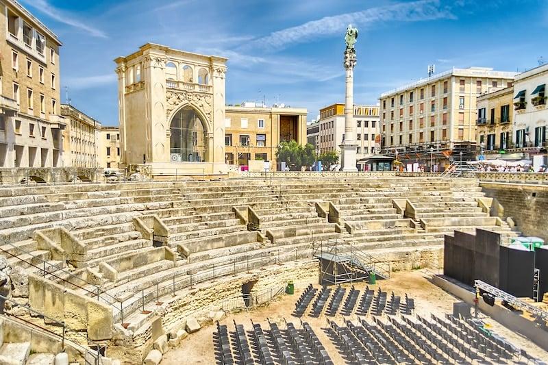 The Roman amphitheatre in Sant'Oronzo square, Lecce, Salento, Italy