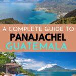 Lake Atitlan and infinity pool at Casa Polopo on Lake Atitlan, Guatemala with text overlay for Pinterest.