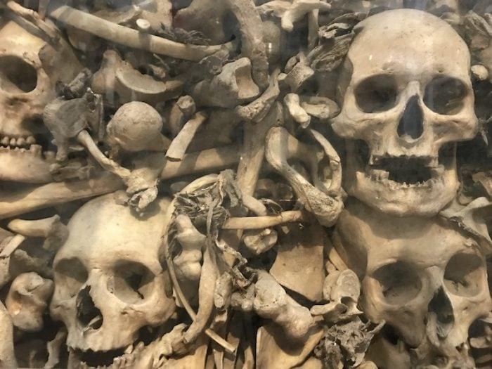 Bones of men, women and children in the ossuary chapel of Otranto