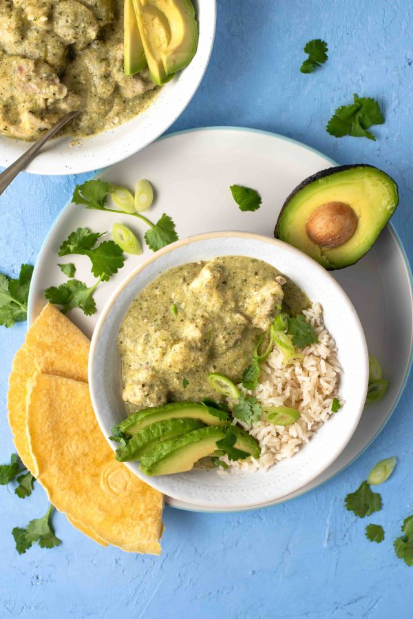 Chicken in green tomatillo salsa