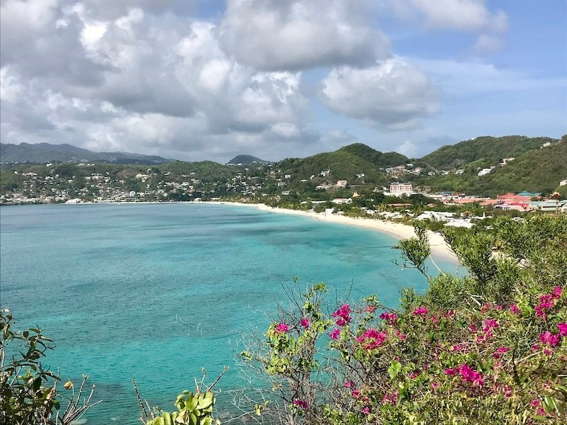 Panoramic view of Grand Anse Beach Grenada