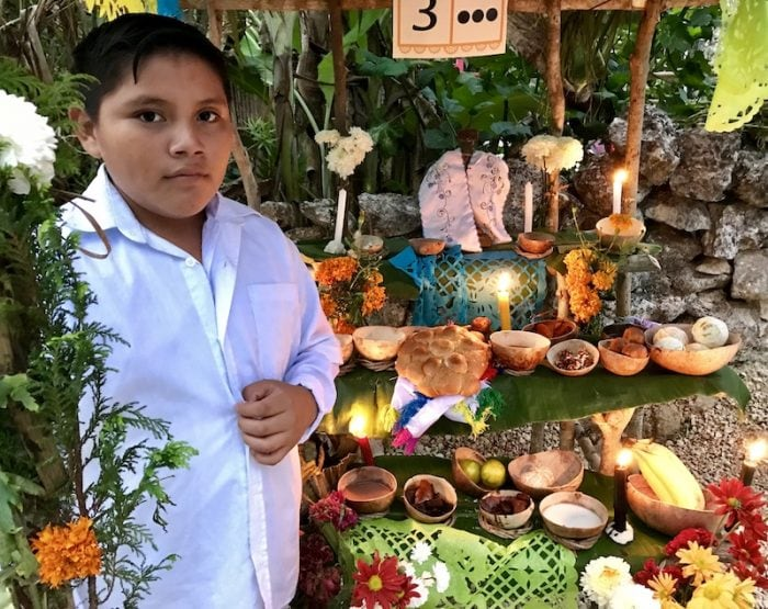 Altar for Hanal Pixan at Tres Reyes near Cancun