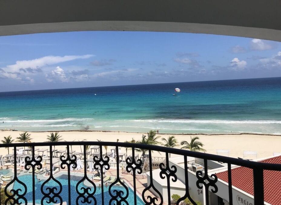 View of the blue Caribbean from balcony at Hyatt Zilara Cancun.