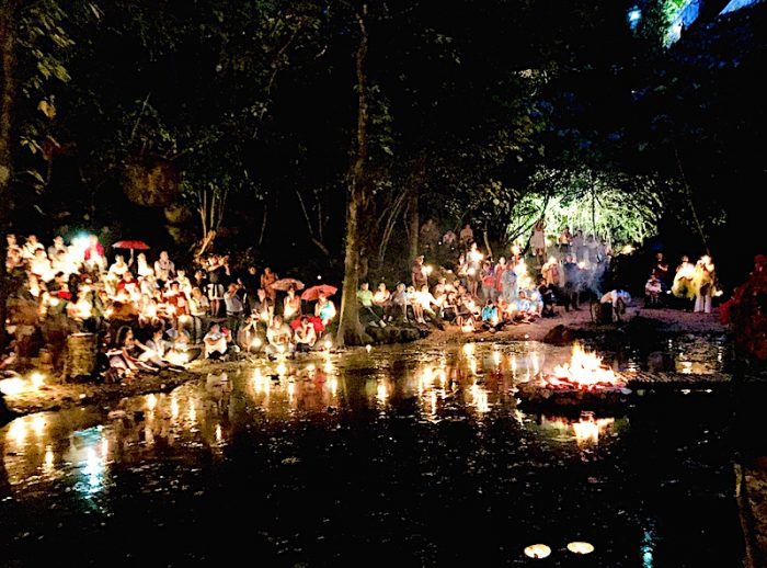 A Hanal Pixan ceremony is conducted by a shaman within the Cenote de La Vida at Tres Reyes Maya Community