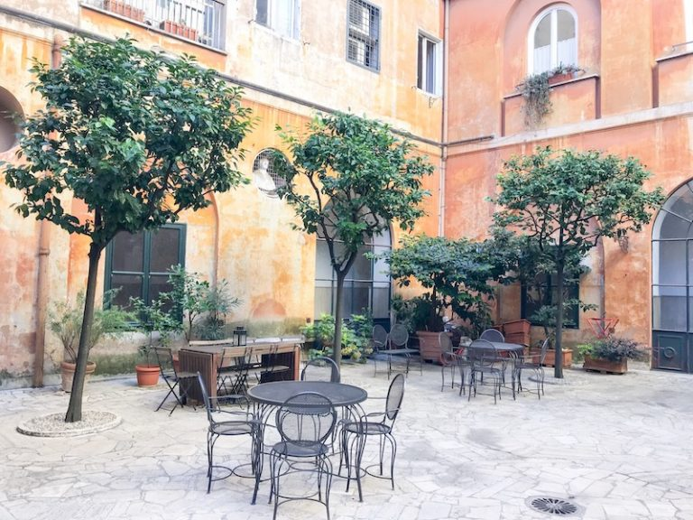 Courtyard at Casa di Santa Francesca Romana a Ponte Rotto Convent Stay in Rome