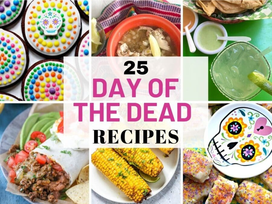 Mexican Day of the Dead foods collage.
