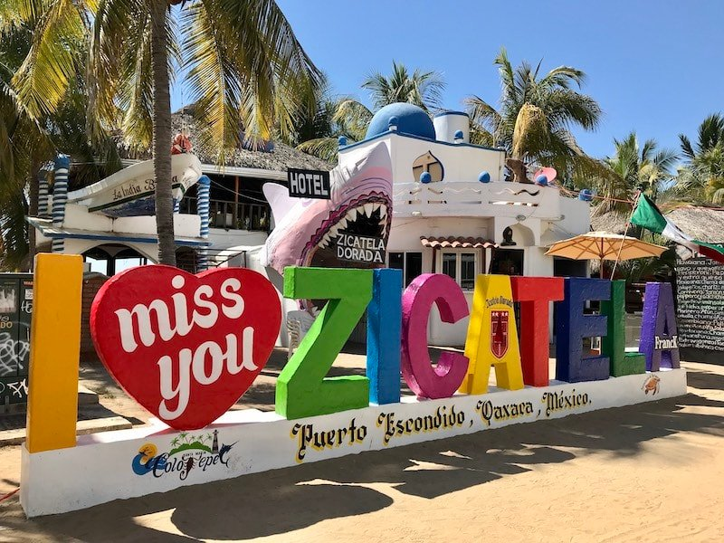 Sign for Zicatela Beach, one of the most popular beaches in Puerto Escondido