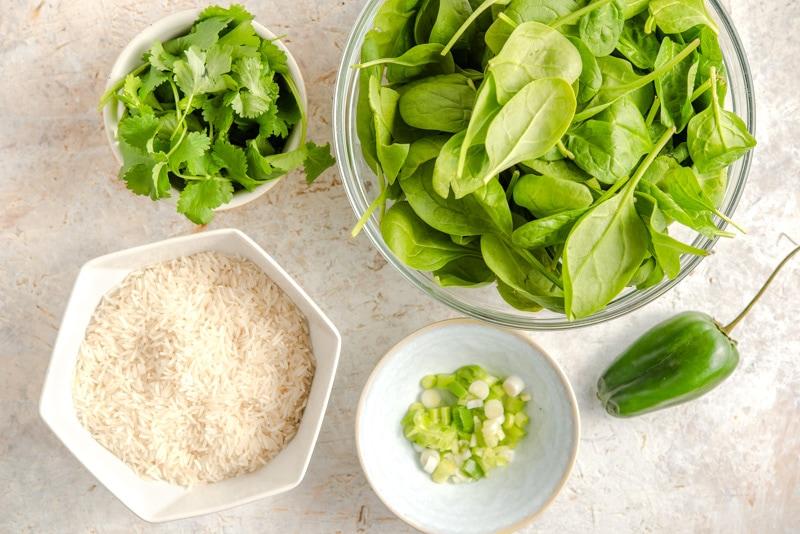 Ingredients for arroz verde