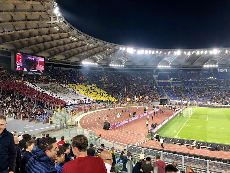 Soccer game in Rome at night