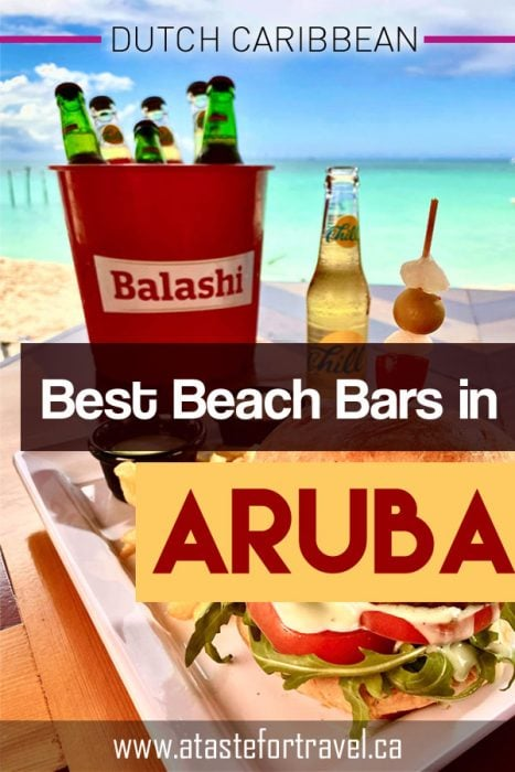 Beach Bars in Aruba text overlay on bucket of beer and beach snacks