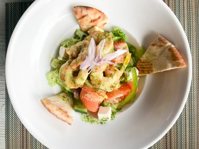 Greek salad with jumbo shrimp at Neptune's