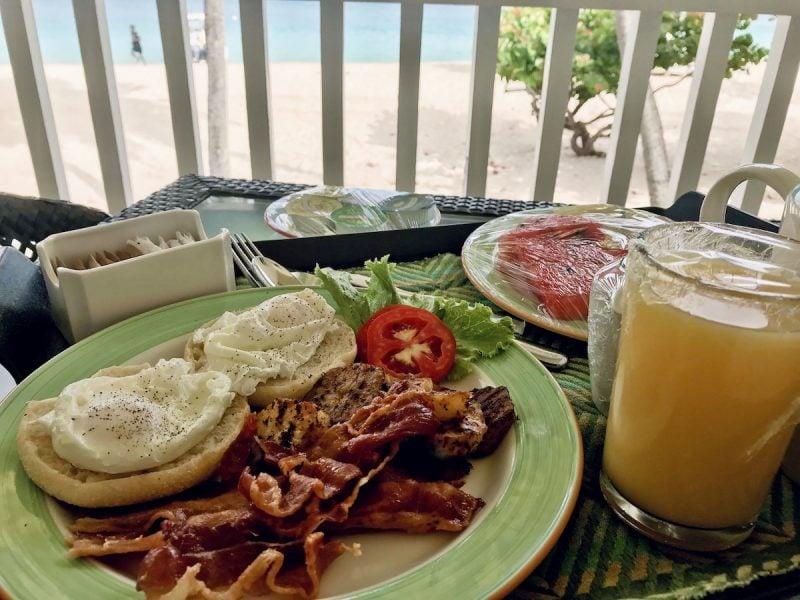 Room service breakfast at Radisson Grenada