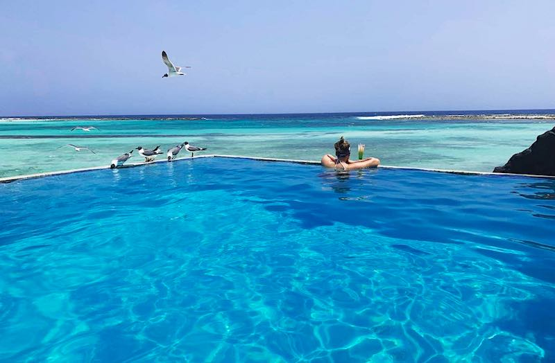 Infinity pool at Rum Reef Bar and Grill on Aruba