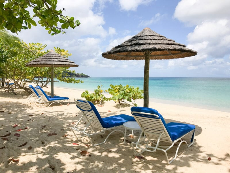 Two beach loungers at Spice Island Beach Resort Grenada