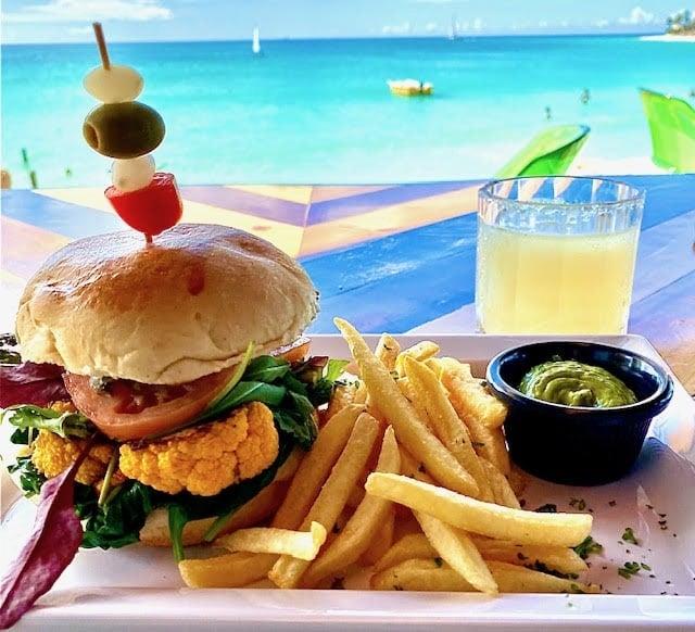 Beach bar veggie burger at Divi Resorts