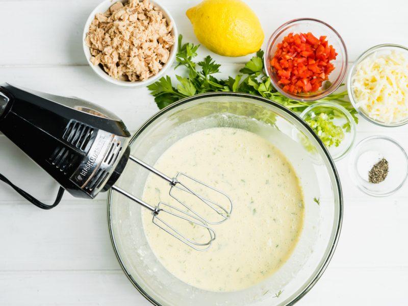 Mixing Salmon Flour Egg and Milk