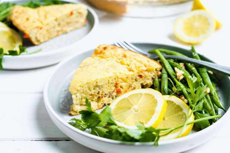Canned Salmon Impossible Pie on a Dish