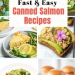 Collage of six tinned salmon recipes.
