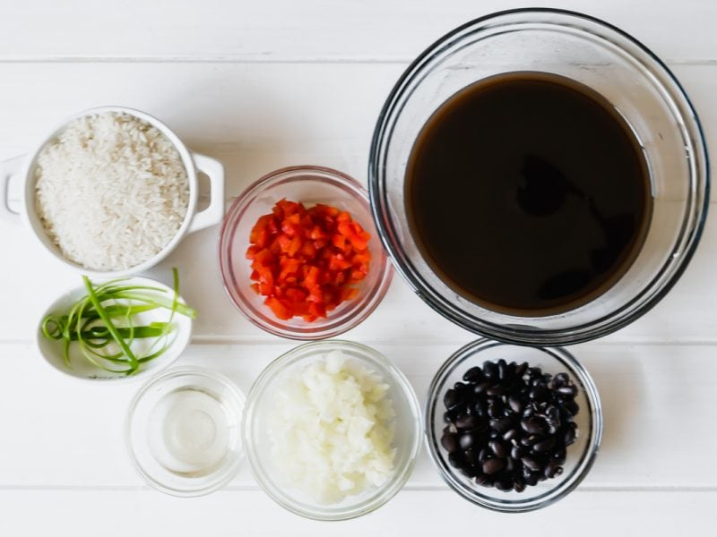 Ingredients for rice and black beans