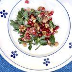 Italian Purslane salad with pomegranate, fig, walnut and quince