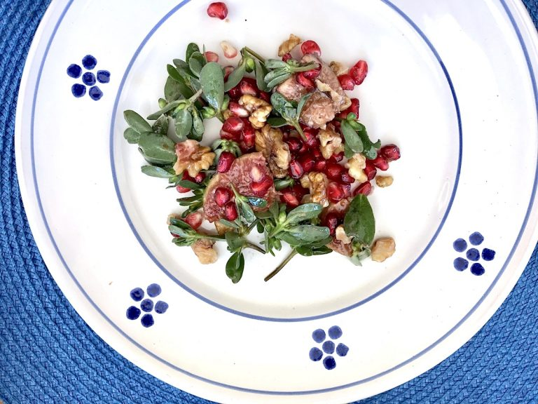 Italian Purslane salad with pomegranate, fig, walnut and quince