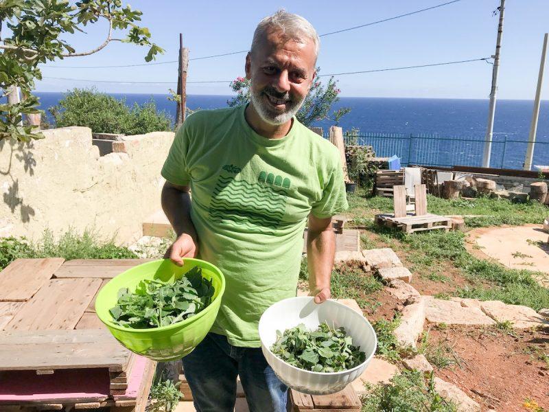 Phillipo Messina foraging at Celacanto Eco Centre in Puglia Italy