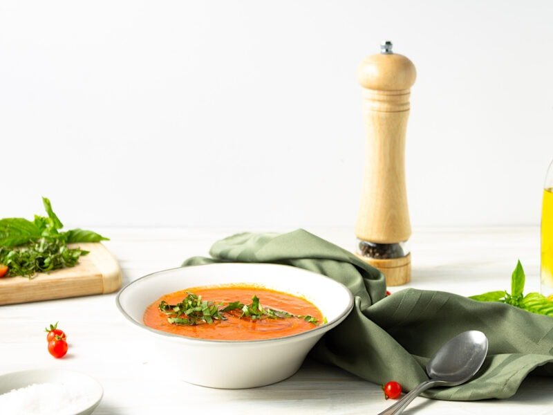 Spanish Gazpacho in a white bowl on a table