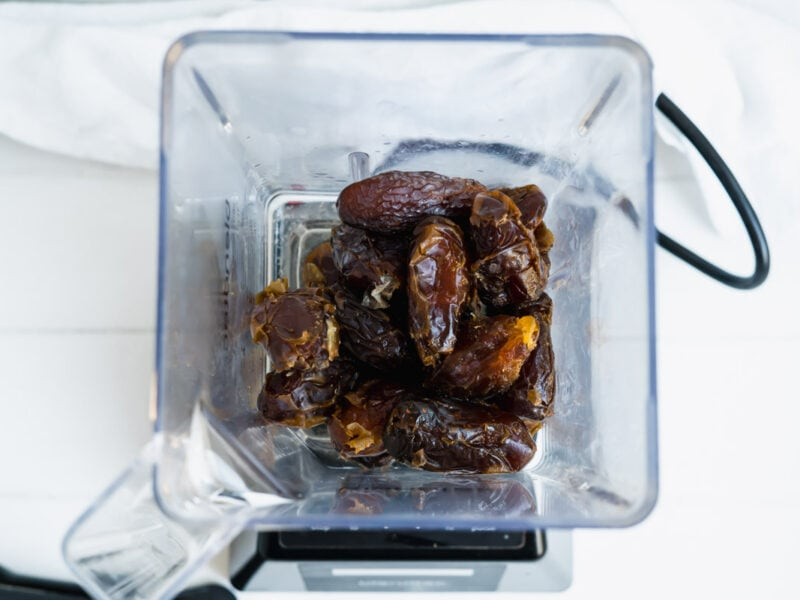 A handful of dates in a blender